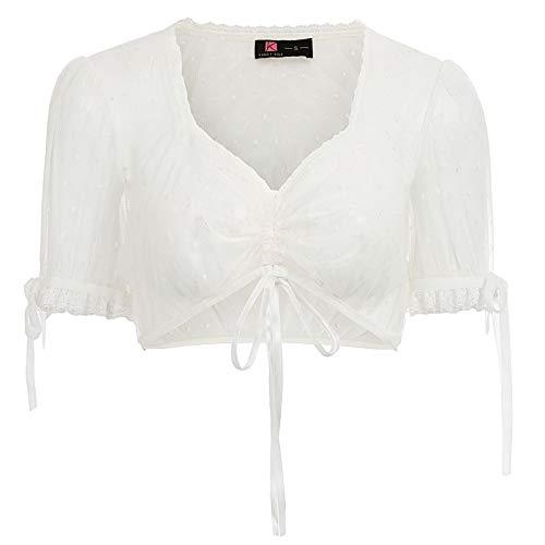 KANCY KOLE 50er Jahre Damen Mädchen Vintage Gothic Steampunk Dirndl Blusen Spitze Gothic Bluse Weiß (79-2) L