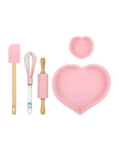 THUN ® - Set 2 teglie, Frusta, spatola e mattarello in Silicone Amore