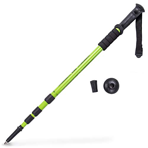 Trekking Pole & Walking Staff | Strong, Lightweight Aluminum | Extends up to 53' Collapses Down to 23' | All-Terrain: Interchangeable Carbonite Ice Pick Tip, Rubber Asphalt Tip, and Snow Cap (Green)