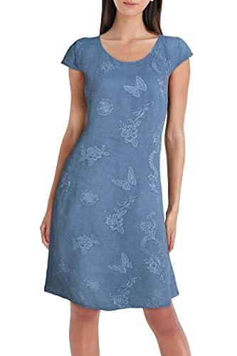 PEKIVESSA Damen Leinenkleid Stickerei Sommerkleid Kurzarm Jeansblau 40 (Herstellergröße L)