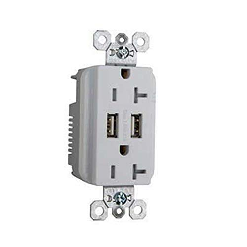 Pass & Seymour TR-5362USBW Tamper-Resistant Dual USB Charger With Duplex Receptacle 125 Volt AC Receptacle 5 Volt DC USB 3.1 Amp USB 20 Amp Receptacle NEMA 5-20R White