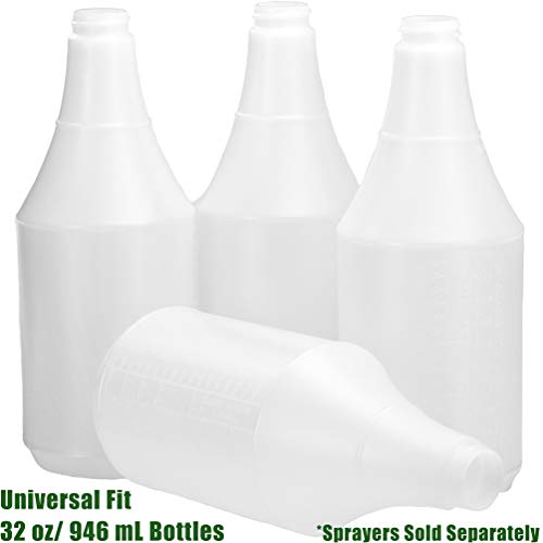 Commercial-Grade Chemical Resistant 32 oz Bottles 4 Pack By Mop Mob. Embossed Scale For Measuring. Pair With Industrial Spray Heads For Auto/Car Detailing, Janitorial Cleaning Supply or Lawn Care.