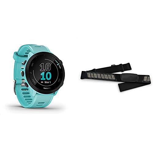 """Garmin Forerunner 55 – GPS-Laufuhr mit 1,04"""" Always-On-Farbdisplay, täglichen Trainingsempfehlungen & Premium-Herzfrequenz-Brustgurt Dual Basic, Herzfrequenzdaten in Echtzeit via Bluetooth Low Energy"""