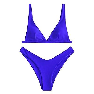 ZAFUL Women's Swimwear High Cut Plunge Bikini Swimsuit Cobalt Blue