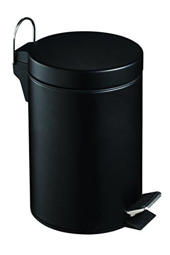 Premier Housewares Pedal Bin Matte Black Kitchen Bin Stainless Steel Bathroom Bin Pedal Push Kitchen Bins Recycling Bins 3 L