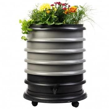 WormBox: Vermicompostador 4 bandejas Gris + Jardinera - 72 litros - Recicle Sus desechos orgánicos en Fertilizantes para Sus Plantas