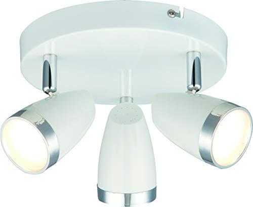 DM Leuchten Deckenlampe rund LED Lampe schwenkbar 3 flammig inkl. Leuchtmittel 3x 4 Watt, warmweiß, LED Deckenleuchte LED Strahler LED Spot, Weiß