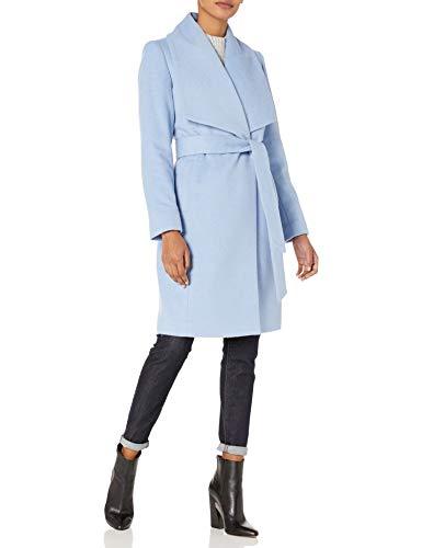 Cole Haan Women's Wool Belted Wrap Coat, Ice Blue, 8