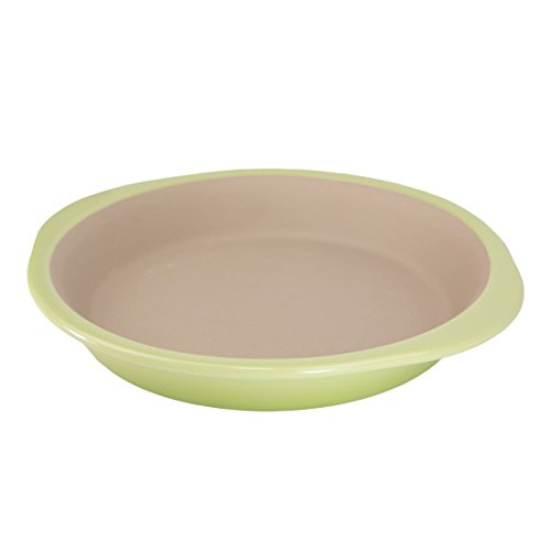 """American Bakeware 8.5"""" Petite Pie Pan (Green Apple) - Non Stick Ceramic Stoneware - Heat Resistant to 400 °F - No Metal, Lead, or other Harmful Materials - Safe for Ovens, Microwaves, Dishwasher"""