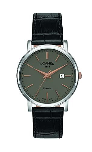 Roamer Reloj de pulsera para hombre Classic Line Gents de 40 mm, correa de piel 709856 41 65 07