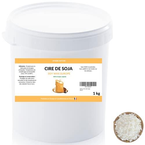 Cubo de cera de soja en virutas para fabricación de velas, 1 kg, 100 % natural y biodegradable, sin OGM, origen europeo envasado en Francia, cera vegetal, vela de masaje, etc.
