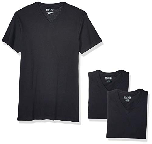 Kenneth Cole REACTION Men's Cotton Stretch V Neck T-Shirt, 3 Pack, Classic Black, L