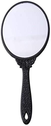 ZJ Tragen Make-up-Spiegel Weinlese Geschnitzte Griff Spiegel Schönheitssalon Hand Spiegel Make-up Spiegel beweglicher Spiegel Einfach (Color : Black)