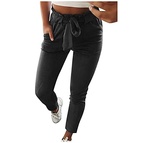 Women's Comfy Sweatpants High Waisted Lace Up Bowtie Elastic Waist Athletic Golf Workout Harem Jogger Pants with Pockets