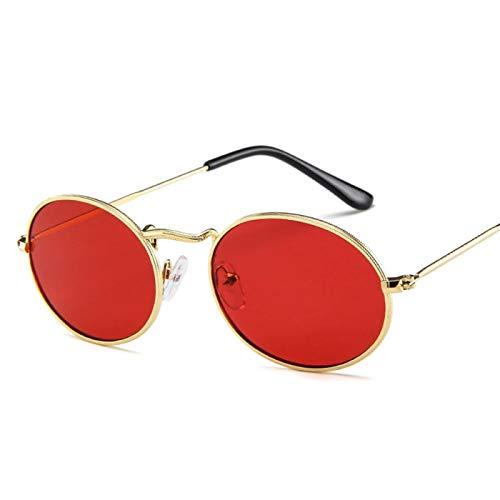 Gafas de Sol Sunglasses Gafas De Sol Ovaladas Pequeñas Mujeres Hombres Gafas De Sol De Diseñador De Marca Vintage Marco De Metal Uv400 C6Red