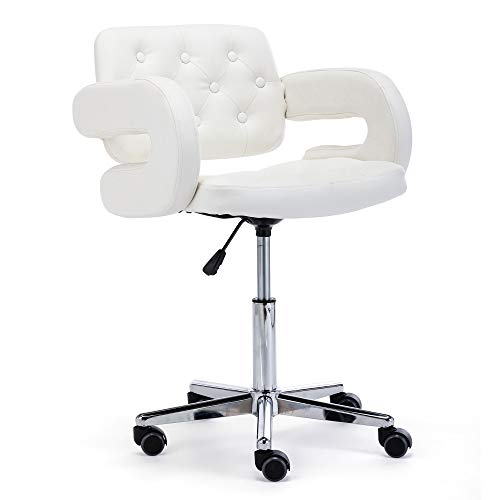 HNNHOME Faux Leather Havana Swivel Office Chair - White