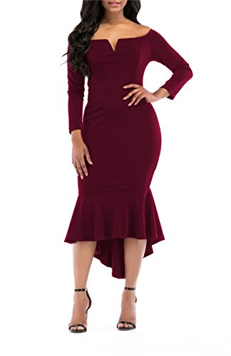 onlypuff Wine Red Mermaid Dress for Women V-Neck Long Sleeve Gown Dress Off The Shoulder M,