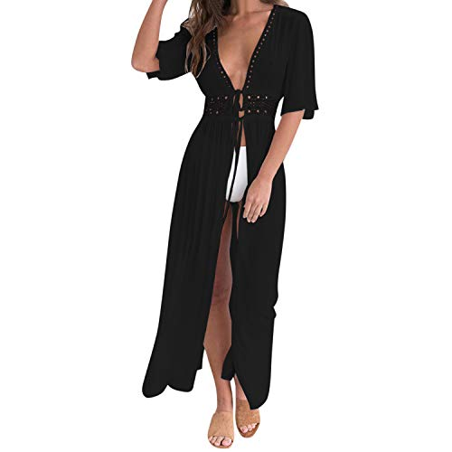 Petalum Damen Sommer Boho Kimono Lang Strand Cardigan Leichte Strickjacke Beachwear Bikini Cover Up Maxi Strandkleid (Schwarz, EU 40(Etikette 2XL))