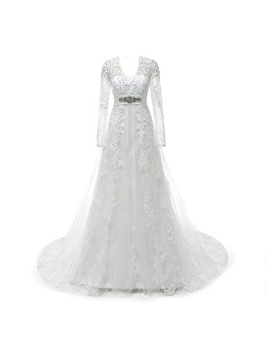 CoCogirls Spitze Hochzeitskleid Kappenhülsen Perlen Korsett Schlüsselloch Rückenfrei Hochzeitskleider Gericht Zug Übergröße Brautkleider (32, Weiß lange Ärmel)