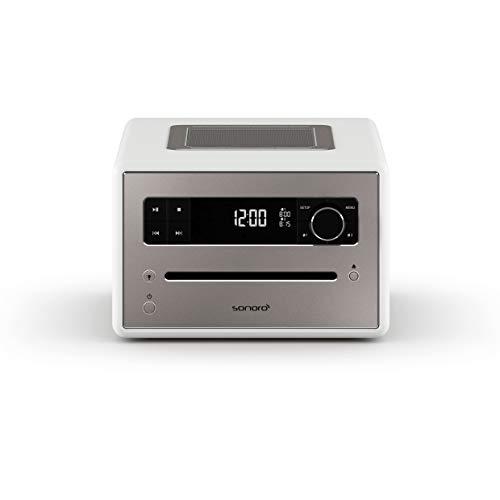 sonoro QUBO CD Player mit Radio, Bluetooth und USB (UKW/FM, DAB Plus, MP3, Wecker, dimmbares Display, Kopfhöreranschluss) Design Digital Radio in Weiß