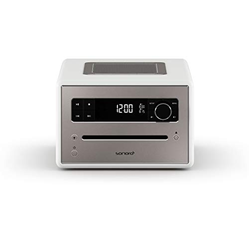 sonoro QUBO CD-Player mit USB, Radio und Bluetooth (UKW/FM, DAB Plus, MP3, Wecker, dimmbares Display) Weiß