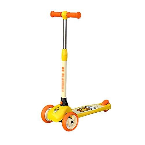 Patinete Scooter de 3 Ruedas con Scooter de Altura Ajustable Plegable para Niños de 2 A 12 Años de Edad Magra para Dirigir (Color : Yellow)