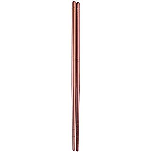 XGQ Acero Inoxidable 1 par Colorida vajilla Reutilizable Metal Palillos vajilla, Longitud: 23cm (Oro) (Color : Rose Gold)