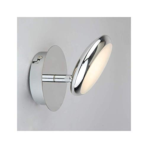 KOSILUM - Petite applique circulaire chromée LED - Nassau - Lumière Blanc Chaud Eclairage Salon Chambre Cuisine Couloir - 4,5W - 360 lm - LED intégrée - IP20