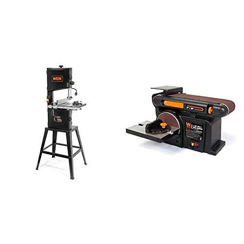 "WEN 3962 Two-Speed Band Saw with Stand and Worklight, 10"" & 6502T 4.3-Amp 4 x 36 in. Belt and 6 in. Disc Sander with Cast Iron Base"