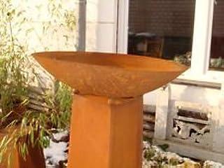 Zen Man Garten Edelrost Feuerschale Pflanzschale 50cm 1mm Rost mit Konus H80cm aus Metall Rost Gartendeko
