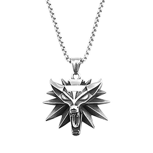 Colgante De Collar De Cabeza De Lobo De Acero Inoxidable Colgante De Moda Clásico De Estilo Retro,Colgante De Collar De Encanto Unisex