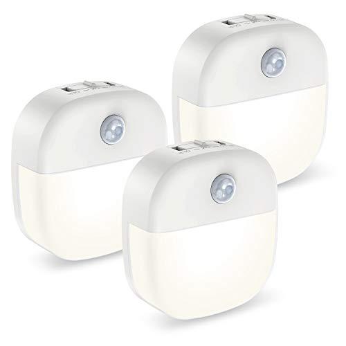 ORIA Nachtlicht Bewegungsmelder, 3 Stück LED Nachtlicht Schrankbeleuchtung mit Doppelseitiger Klebstoff, 3 Modi (Auto/ON/OFF) Bewegungslicht für Treppe, Schlafzimmer, Küche, Zimmer, Flur - Weiß