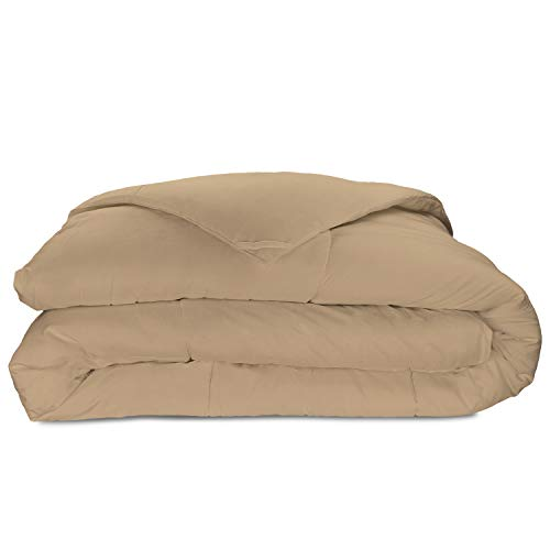 Cosy House Collection Luxury Bamboo Down Alternative Comforter - Hypoallergenic - Plush Microfiber Fill - Machine Washable Duvet Insert - Tan - King/Cal King