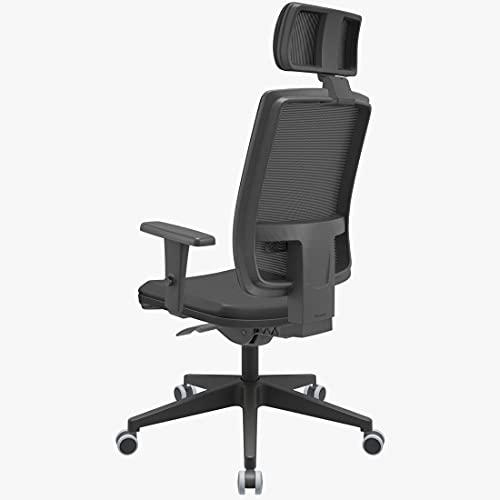 Cadeira de Escritório Presidente Brizza Braço 3D Autocompensador Revestimento Couro Ecológico- Plaxmetal