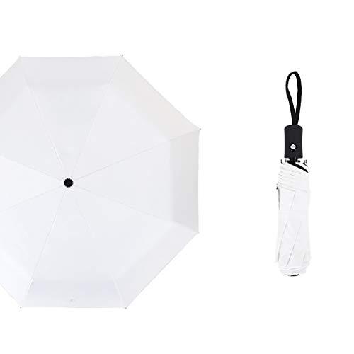 Faltbar Sonnenschirm Rain Regenschirm Öffnen Golf Schirme Überdachung Belüftet Winddicht wasserdichte Doppeltem Verwendungszweck UV-Faltschirm (Weiß)