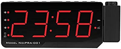 Deasengmins Digital Radio Alarm Clock Projection Snooze Timer Temperature LED Display USB Chargable Table Wall FM