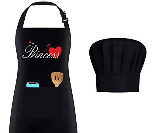 Couple Apron for Cooking -Princess Knight Apron Set -Birthday Valentines Day GiftsFunny Apron Chef Hat Set with PocketAdjustable Water-Resistant BBQ Aprons for Women KitchenBakingPrincess