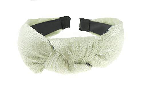 Glamour Girlz Serre-tête de soirée pour femme avec paillettes et nœud sur le dessus Vert menthe