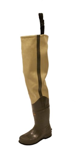Frogg Toggs Bull Frogg 3-ply PVC Canvas Bootfoot Hip Wader, Felt Outsole, Khaki, Size 10
