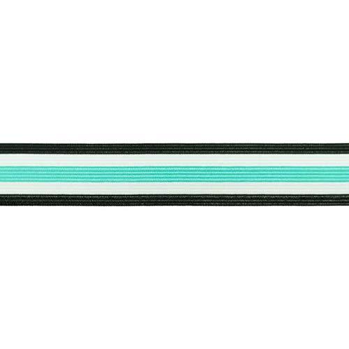 3 cm Breite/Gummiband/Elastik Band/Fashionband mit bunten Streifen / 30 mm Breite - 5 Meter Länge - elastisch - Wäschegummi, Mint