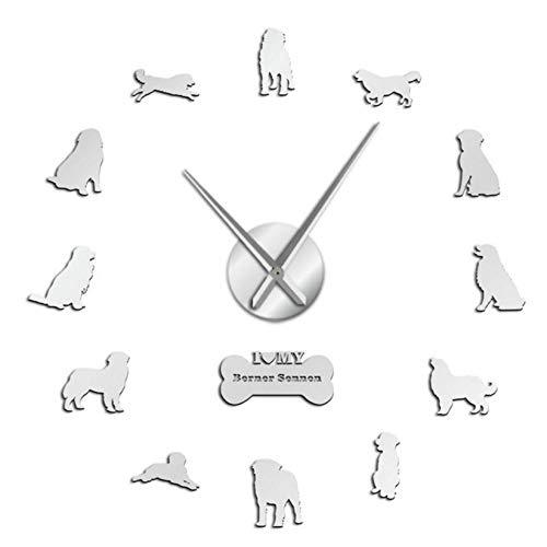 ZYZYY 47inches Berner Sennenhond frameloze wandklok DIY reuze-wandklok hondenhuis grote wandklok digitaal stil