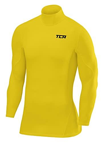 TCA SuperThermal Herren Kompressionsshirt/Funktionsshirt mit Stehkragen - Langarm - Sonic Yellow (Gelb), XL