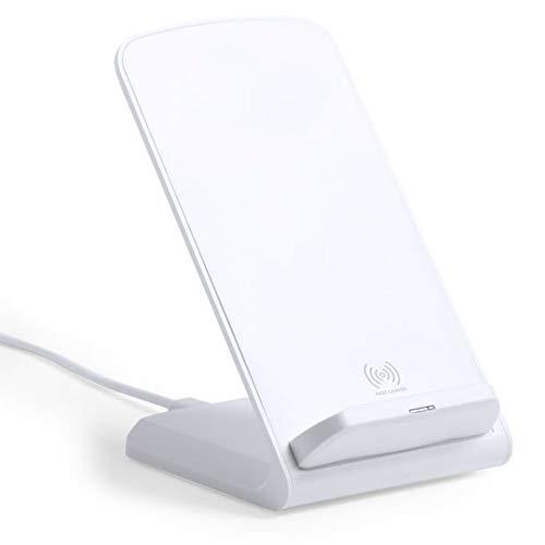 MKTOSASA - Cargador Inalámbrico Qi Rápido 10W en Elegante Acabado Blanco. Función Soporte para Smartphones e Indicador Luminoso. Compatible con Smartphones con Carga Inalámbrica Qi - 7x10.9x8.5