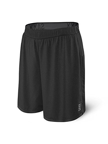 """Saxx Men's Athletic Shorts – Pilot 2N1 Run 7"""" Men's Workout, Running and Training Shorts – Lightweight Lined Active Shorts with Pocket, Black Heather,X-Large"""