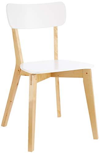 AC Design Furniture Silla Raven Abedul Macizo, Blanco, 40,5 x 48,5 x 79 cm