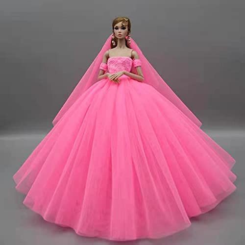 XKMY Vestidos para muñeca rosa accesorios 1/6 ropa de muñeca Set para...