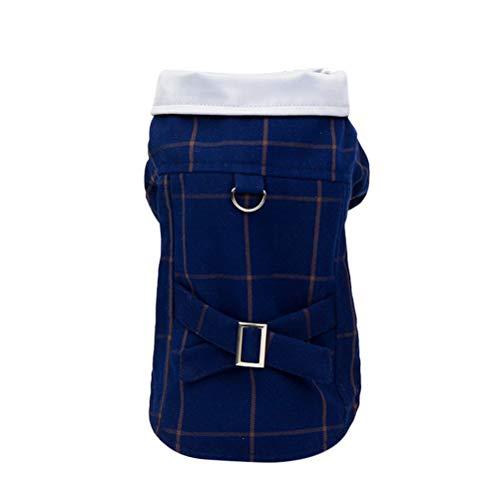 POPETPOP Świąteczne stroje dla zwierząt domowych pies ciepłe płaszcze - żakiet dla psa w kratkę stylowa odzież dla zwierząt domowych dla psów dwunogi wisząca kabelowa ubrania dla psów na zimę jesień pies nosić niebieski rozmiar M