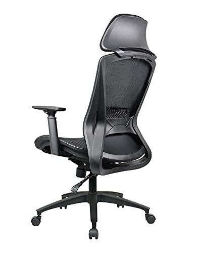 【2021 Newest】 BYRORAS Ergonomic Office Chair - High Back Desk Chair with Adjustable 3D Armrest, Headrest, Backrest, Tilt Function, Lumbar Support and PU Wheels - Swivel Computer Mesh Office Chair