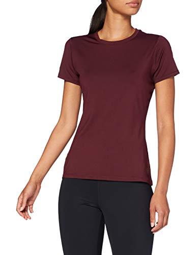 Amazon-Marke: AURIQUE Damen Sporttop-Shirt mit Mesh-Einsätzen, Rot (Port), 34, Label:XS