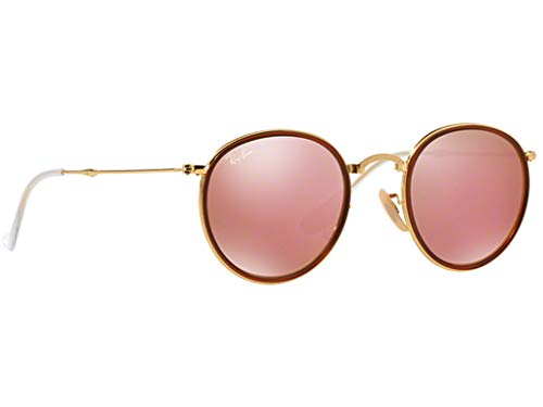 Ray Ban RB3517 Round 001/Z2 Gold Folding Pink Mirror Sunglasses 48mm